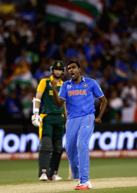 Indian player Ravichandran Ashwin during an ICC World Cup 2015 match between India and South Africa at Melbourne Cricket Ground, Australia on Feb 22, 2015.