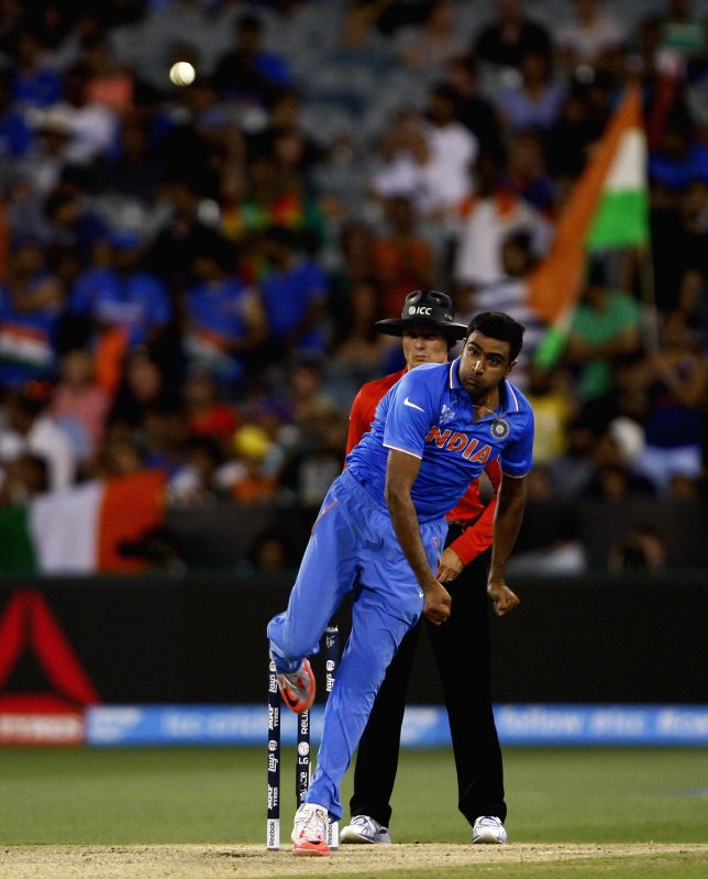 Indian player Ravichandran Ashwin in action  during an ICC World Cup 2015 match between India and South Africa at Melbourne Cricket Ground, Australia on Feb 22, 2015.