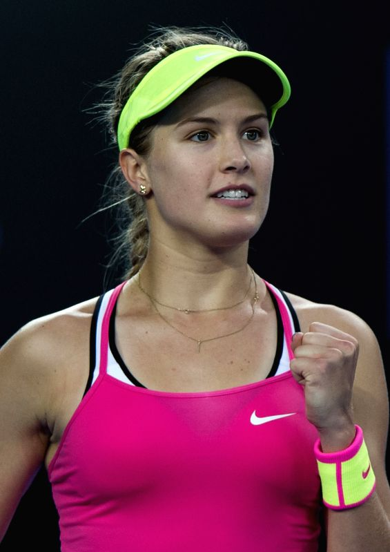 Eugenie Bouchard of Canada celebrates after winning the women's singles first round match against Anna-Lena Friedsam of Germany at the 2015 Australian Open tennis