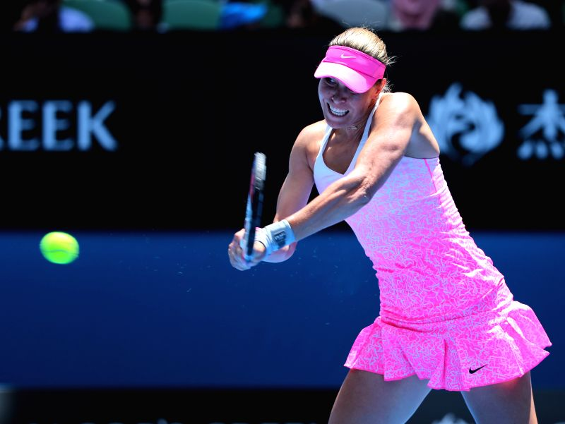 Lucie Hradecka of the Czech Republic competes during the women's singles first round match against Ana Ivanovic of Serbia at the 2015 Australian Open tennis ...