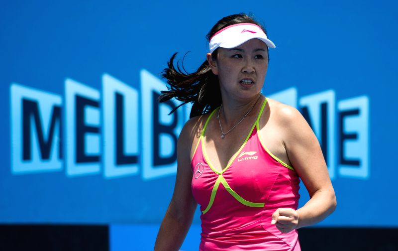 Peng Shuai of China reacts during her women's singles first round match against Tatjana Maria of Germany on the first day of the 2015 Australian Open tennis ...