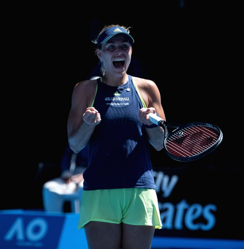 MELBOURNE, Jan. 22, 2018 - Angelique Kerber of Germany celebrates after the women's singles fourth round match against Hsieh Su-wei of Chinese Taipei at Australian Open 2018 in Melbourne, Australia, ...