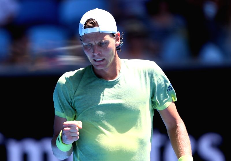 MELBOURNE, Jan. 22, 2018 - Tomas Berdych of the Czech Republic celebrates during the men's singles fourth round match against Fabio Fognini of Italy at Australian Open 2018 in Melbourne, Australia, ...