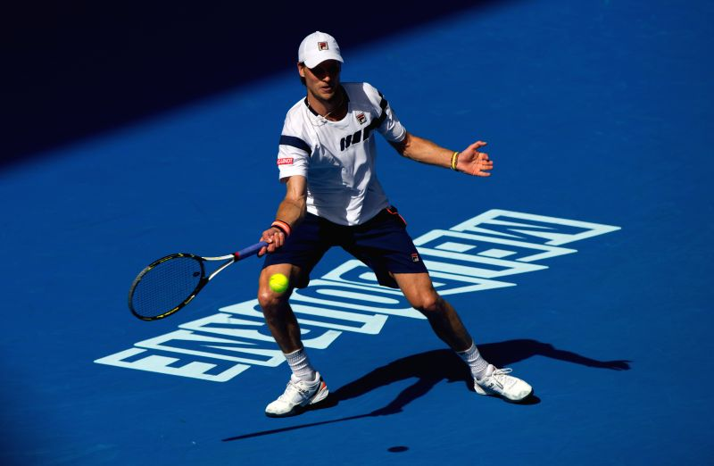 Andreas Seppi of Italy returns the ball during the third round match of men's singles against Roger Federer of Switzerland at the 2015 Australian Open tennis ...