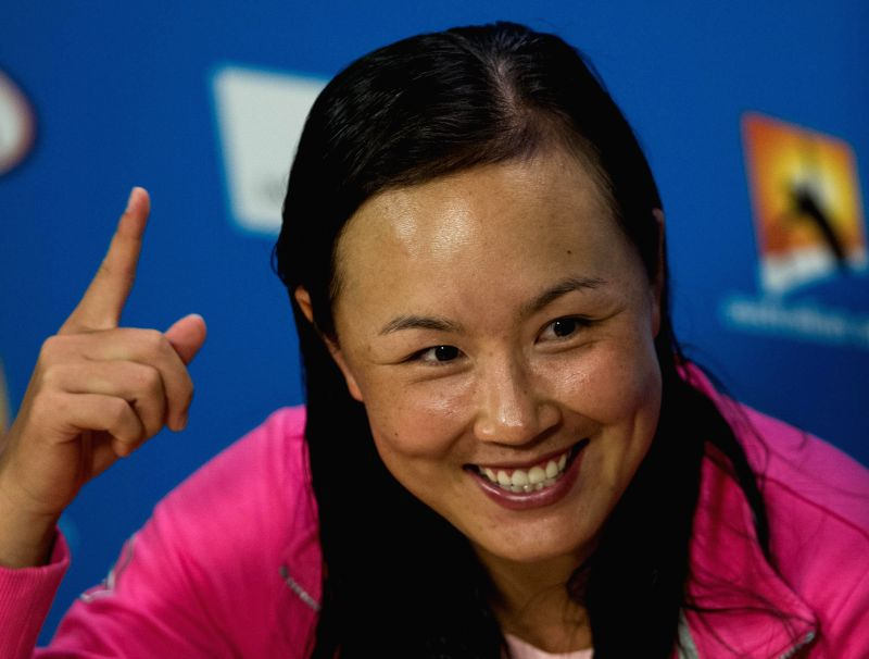 Peng Shuai of China attends a post-match press conference after winning her women's singles third round match against Yaroslava Shvedova of Kazakhstan at the ...