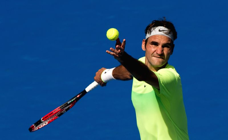 Roger Federer of Switzerland serves during his men's singles third round match against Andreas Seppi of Italy at the Australian Open tournament in Melbourne, ...