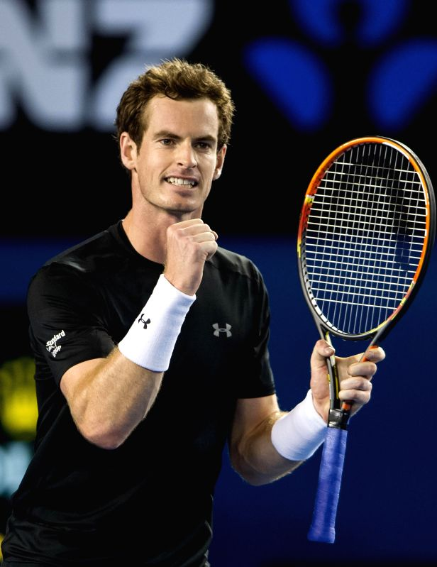 Andy Murray of Britain reacts during the men's singles fourth round match against Grigor Dimitrov of Bulgaria at the 2015 Australian Open tennis tournament at ...