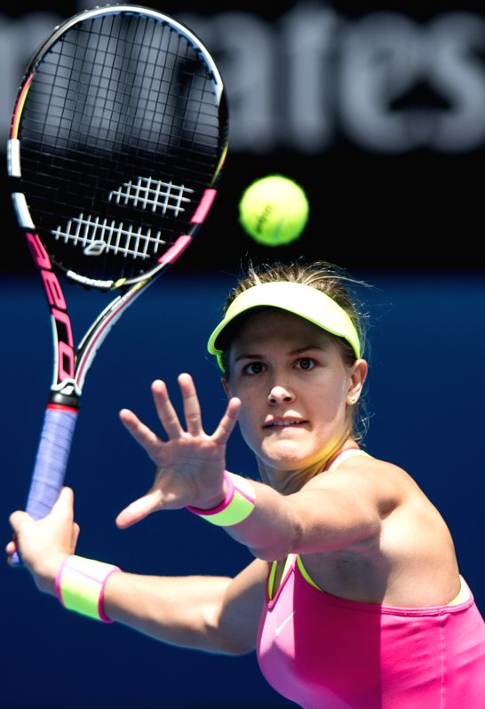 Eugenie Bouchard of Canada competes during the women's singles fourth round match against Irina-Camelia Begu of Romania at the Australian Open tournament in ...