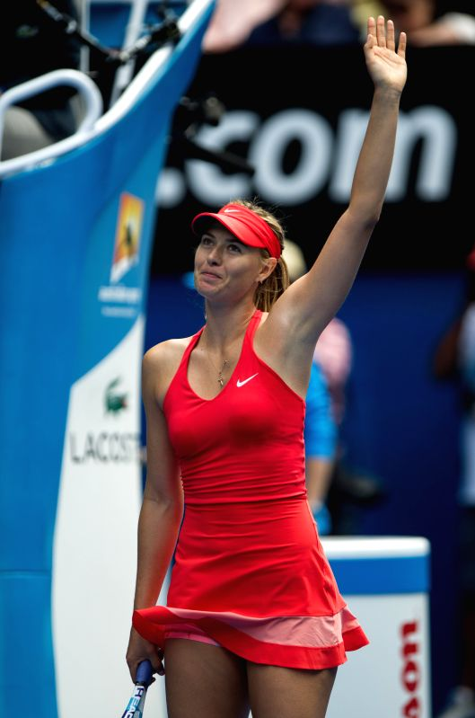 Maria Sharapova of Russia celebrates after winning her women's singles fourth round match against Peng Shuai of China at the 2015 Australian Open tennis ...
