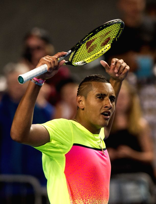 Nick Kyrgios of Australia celebrates after winning his men's singles fourth round match against Andreas Seppi of Italy on day seven of 2015 Australian Open tennis