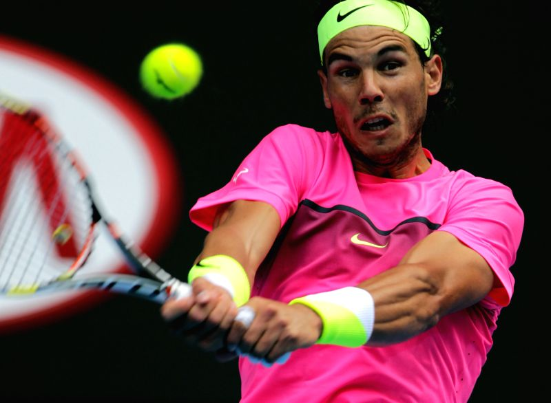 Rafael Nadal of Spain in action against Kevin Anderson of South Africa during day seven of the 2015 Australian Open at Melbourne Park in Melbourne, Australia on ...