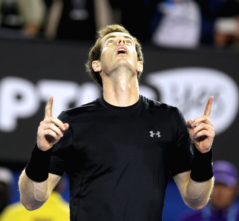 Andy Murray of Great Britain celebrates during his men's singles quarterfinals match against Nick Kyrgios of Australia on day nine of 2015 Australian Open tennis .