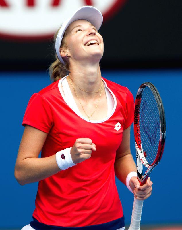 Russia's Ekaterina Makarova celebrates after the women's quarterfinal match against Romania's Simona Halep at the Australian Open tennis championship in ...