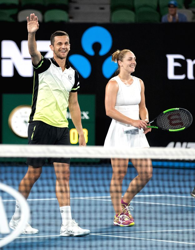 MELBOURNE, Jan. 28, 2018 - Gabriela Dabrowski (R) of Canada and Mate Pavic of Croatia celebrate after winning the mixed doubles final against Timea Babos of Hungary and Rohan Bopanna of India at the ... - Rohan Bopanna