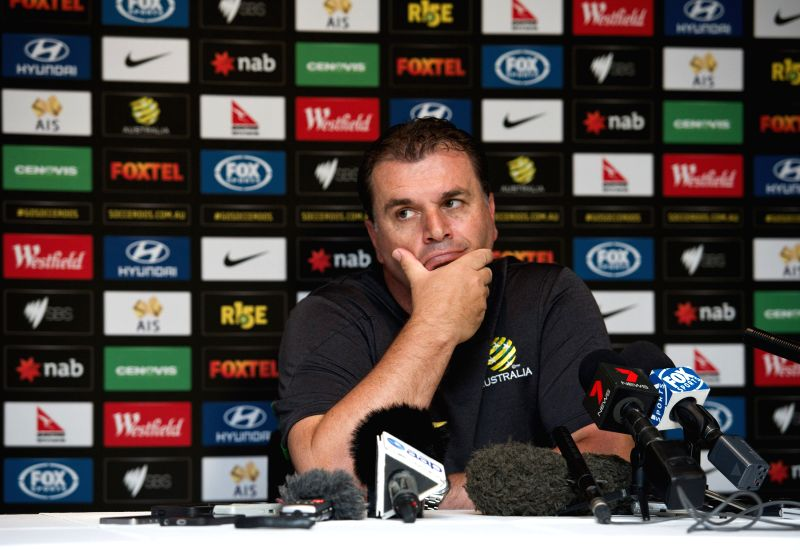 Australia coach Ange Postecoglou speaks at a press conference after the team training session ahead of AFC Asian Cup at the Collingwood Training Centre, Olympic ...