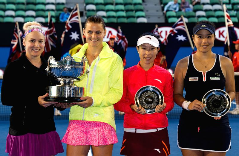 (from L to R) Bethanie Mattek-Sands of the U.S., Lucie Safarova of the Czech Republic, Zheng Jie of China, and Chan Yung-Jan of Chinese Taipei pose with their ...