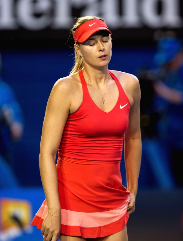 Maria Sharapova of Russia reacts during the Women's Singles final match against Serena Williams of the U.S. at the 2015 Australian Open tennis tournament at ...