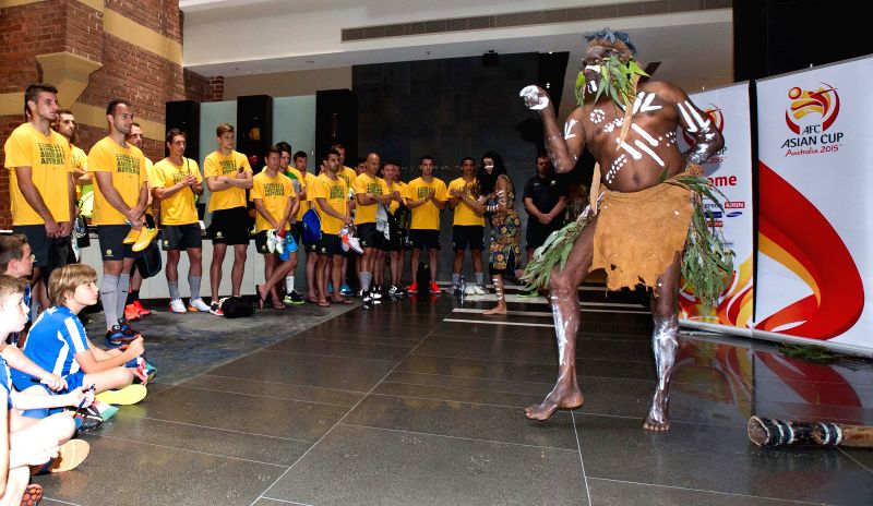 Australian Socceroos players attend the official welcome ceremony ahead of AFC Asian Cup in Melbourne, Australia, Jan. 5, 2015.