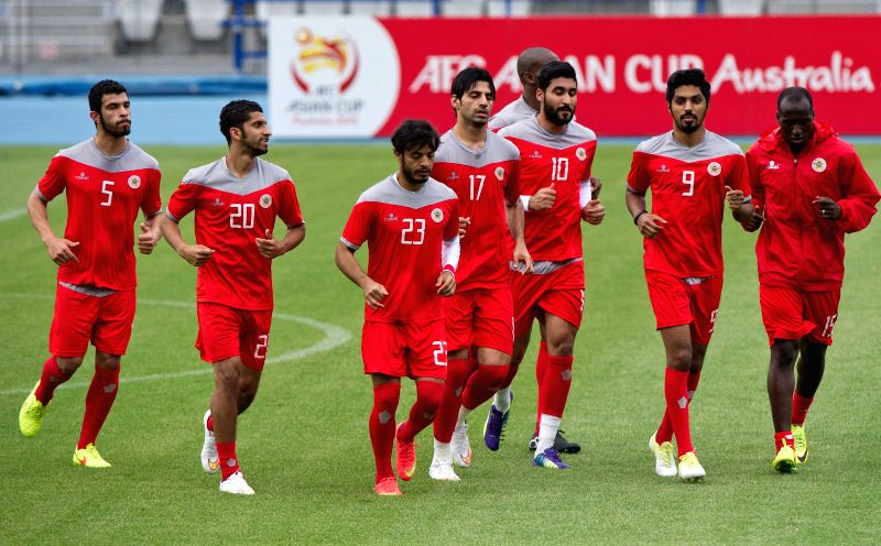 Players of Bahrain soccer team attend a training session ahead of the AFC Asian Cup at Lakeside Stadium in Melbourne, Australia, Jan. 7, 2015.