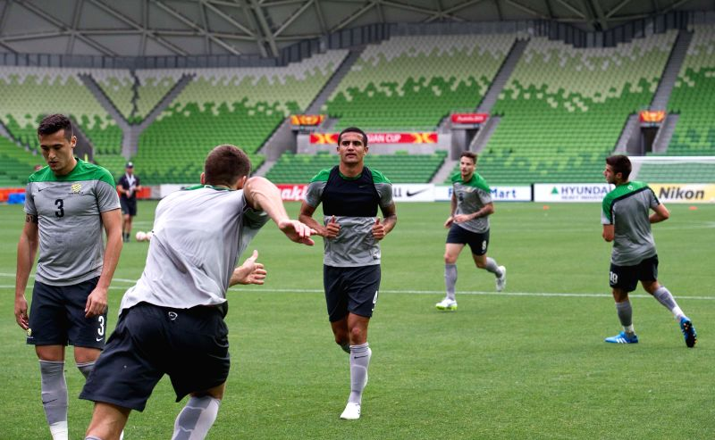Australian Socceroos players attend a training session ahead of AFC Asian Cup at Melbourne Rectangular Stadium in Melbourne, Australia, Jan. 8, 2015. As the host, .