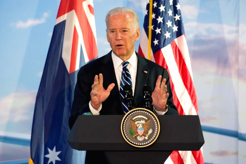 MELBOURNE, JULY 18, 2016 - U.S. Vice President Joe Biden addresses workers and staffs of the Boeing Aerostructures Australia plant in Melbourne, Australia, July 18, 2016. Biden is on a visit to ...