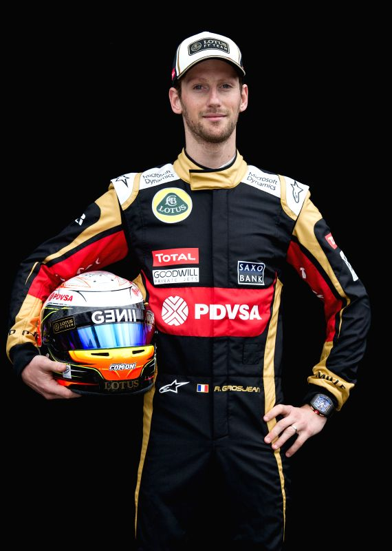 Lotus Formula One driver Romain Grosjean of France poses for the season-opening driver portrait session ahead of Australian Formula One Grand Prix at Albert Park ...