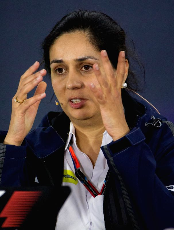 Sauber Formula One Team Principal Monisha Kaltenborn speaks during a press conference after the second practice session ahead of Australian Formula One Grand ...