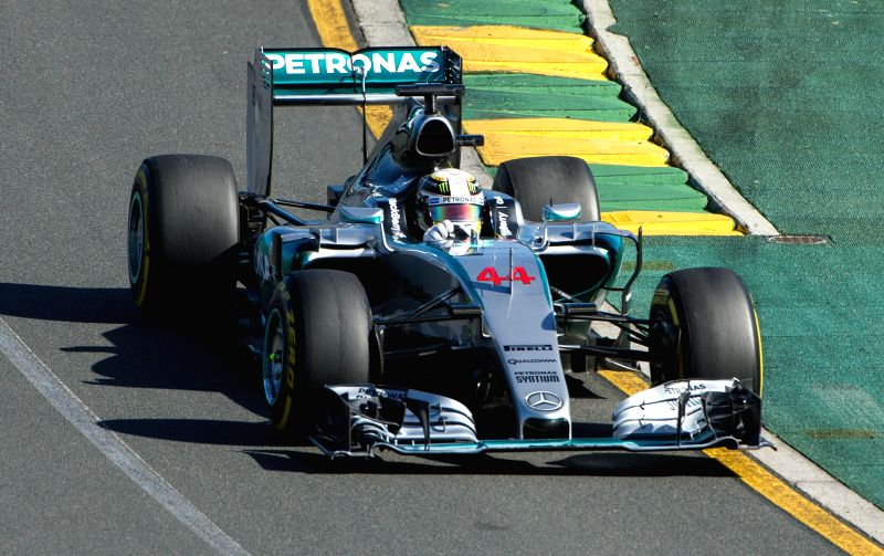 Mercedes AMG Petronas Formula One driver Lewis Hamilton of Britain drives during the Australian Formula One Grand Prix at the Albert Park circuit in Melbourne, ...