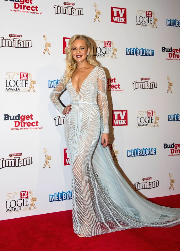 Australian television presenter Carrie Bickmore arrives at the red carpet of the 57th Annual Logie Awards at Crown hotel in Melbourne, Australia, May 3, 2015. ...