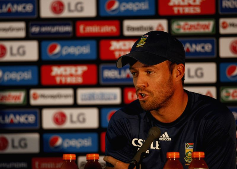 South Africa captain A B de Villiers addresses during a press conference at Melbourne Cricket Ground (MCG) ahead of an ICC World Cup 2015 match - scheduled to be held on 22nd Feb 2015 - ...