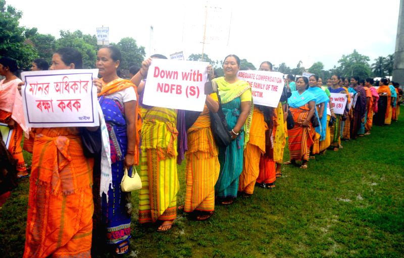 Members of All Bodo Women Welfare Federation (ABWWF) and Women Wing of the Bodoland Peoples Front (BPF) demonstrate against the killing of a 16-year-old girl allegedly by NDFB(S) militants int ...