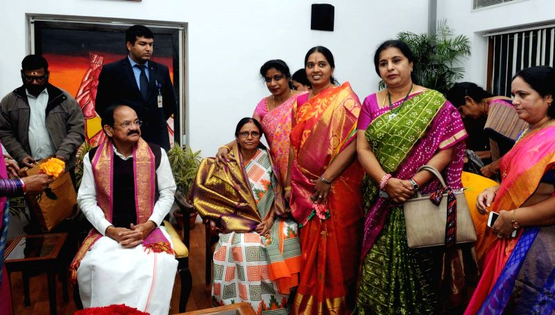 Members of Andhra Pradesh Women's Commission call on Vice President M. Venkaiah Naidu and his wife Usha Naidu in New Delhi on Feb 1, 2018. - M. Venkaiah Naidu and Usha Naidu