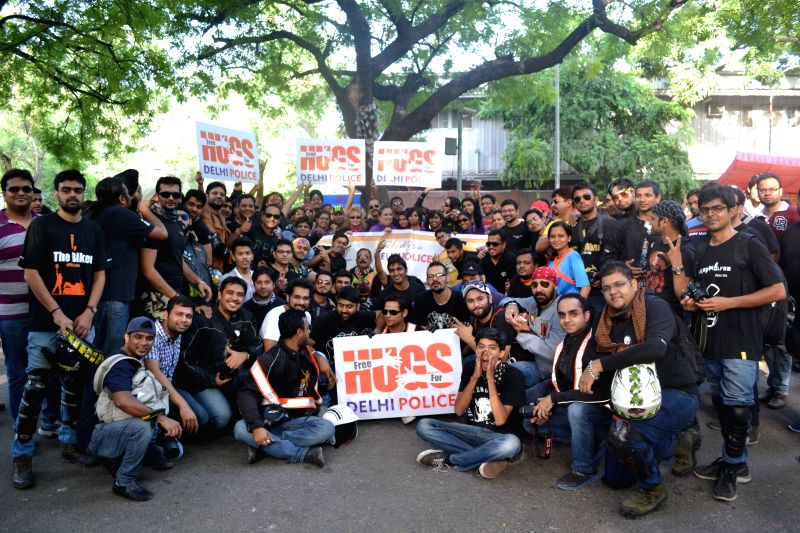 "Members of `Bikers for Good`, a Motorcycle Community gather at Jantar Mantar to thank Delhi Police for their ""diligence"" in New Delhi on Aug 24, 2014."