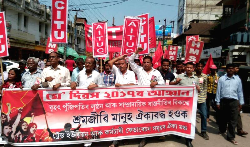 Members of CITU and AITUC participate in a rally organised on International Workers' Day in Guwahati, on May 1, 2017.