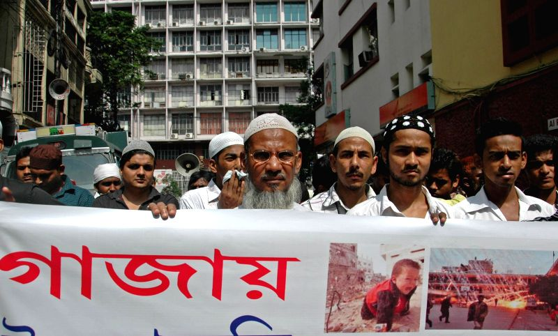 Members of Imperialist Forum participate in a demonstration against Israeli attacks on Gaza in Kolkata on Aug 8, 2014.