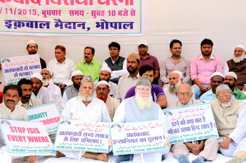Members of Jamiat Ulema-e-Hind Madhya Pradesh during sit-in protest against ISIS terror in Bhopal on Nov 18, 2015.