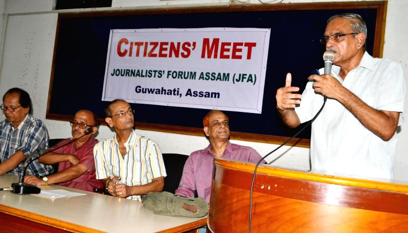 Members of Journalists Forum Assam discuss floods in Guwahati during a programme organised in the city on July 2, 2014.