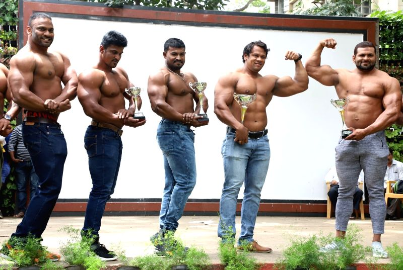 Members of Karnataka Amateur Bodybuilders Association (KAABA) during a press conference, in Bengaluru on June 12, 2018.