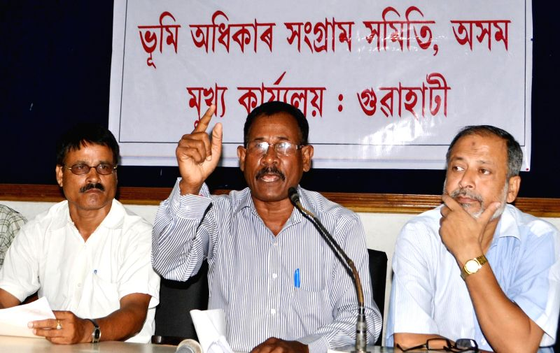Members of Land Rights Struggle Committee address a press conference in Guwahati on July 2, 2014.