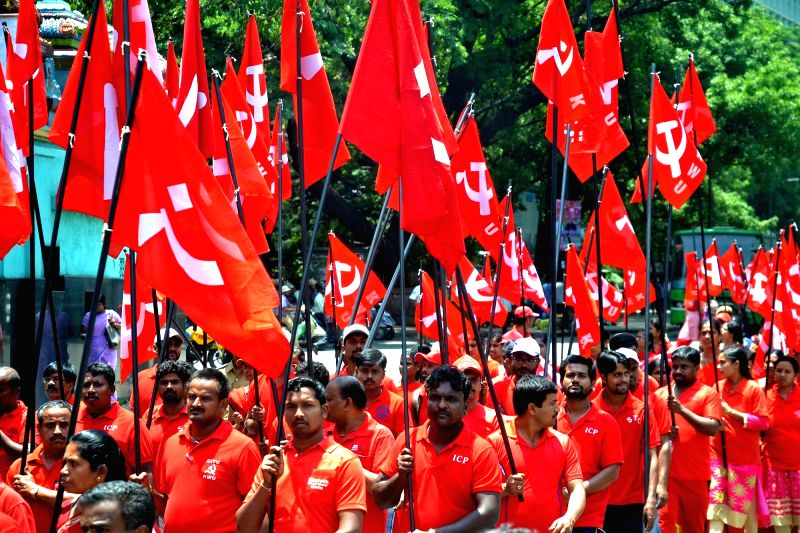 Members of Leftist Trade Unions participate in a  rally organised on International Workers' Day in Bengaluru on April 1, 2017.