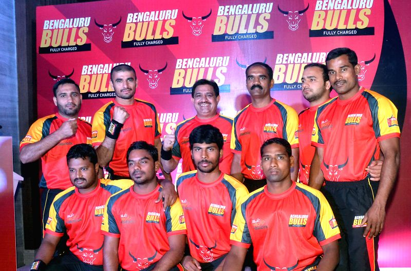 Members of Pro Kabbadi League 2014 team `Bengaluru Bulls` during announcement of the team in Bangalore on July 16, 2014.