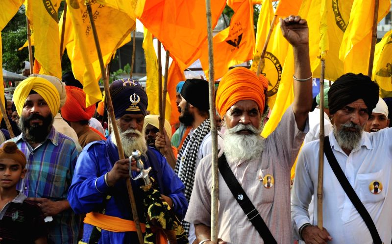 Members of radical Sikh organisation, Dal Khalsa participate in a rally organsied on the eve of anniversary of Operation Bluestar in Amritsar, on June 5, 2017.