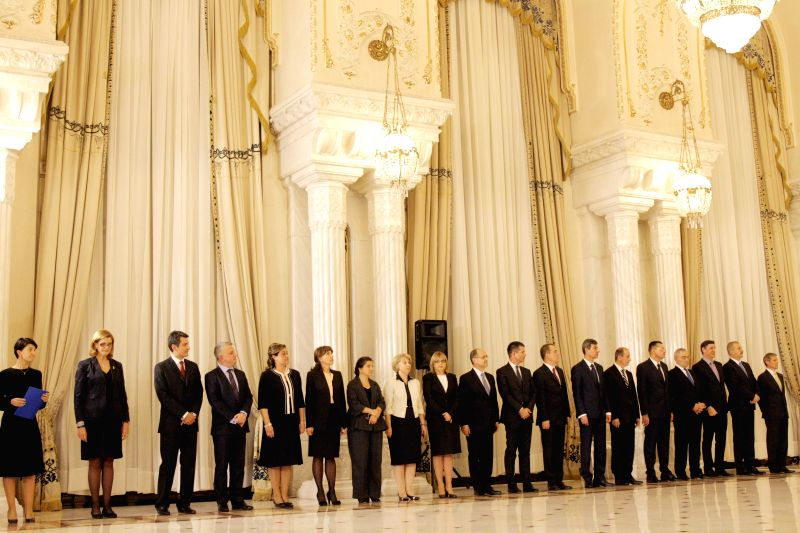 Members of Romania's new government attend the swearing-in ceremony in Bucharest, Romania, Nov. 17, 2015. Romania's new Prime Minister Dacian Ciolos and the ... - Dacian Ciolos