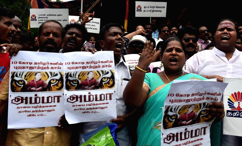 Members of Tamil film industry demonstrate outside Sri Lankan consulate in Chennai demanding closure of the consulate and the embassy in New Delhi, on Aug 4, 2014.