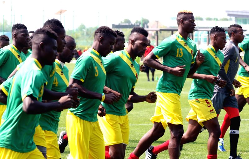 Members of the Guinean squad for the FIFA U-20 World Cup, which opens on May 20, 2017, practice at a stadium in Jeonju, North Jeolla Province, on May 17.