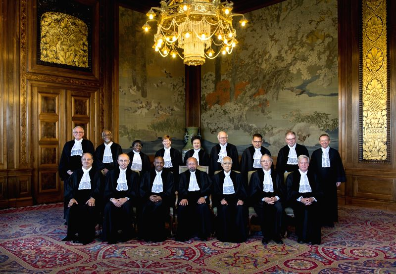 Members of the International Court of Justice, who are hearing the case of Kulbhushan Jadhav, the alleged Indian spy sentenced to death by a Pakistani military court; in The Hague, Netherlands on May ...