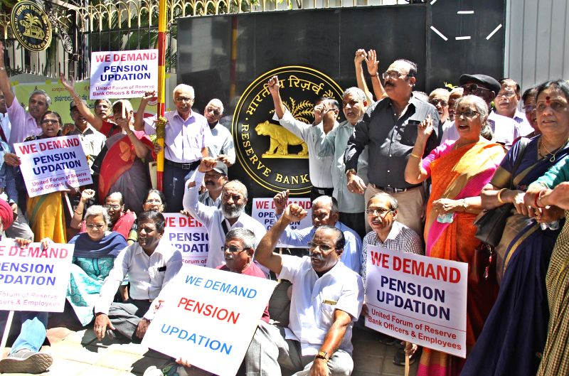 Members of United Forum of Reserve Bank Officers and Employees stage a demonstration outside RBI to press for their demands in Bengaluru, on March 6, 2018.