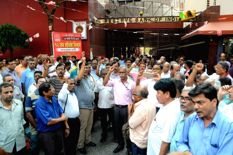 Members of various Bank Unions stage a demonstration in front of RBI to press for their demands in Kolkata on May 4, 2017.