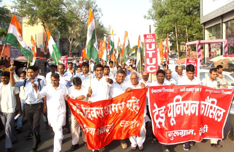 Members of various Trade Unions participate in a rally organised on International Workers' Day in Gurugram, on May 1, 2017.