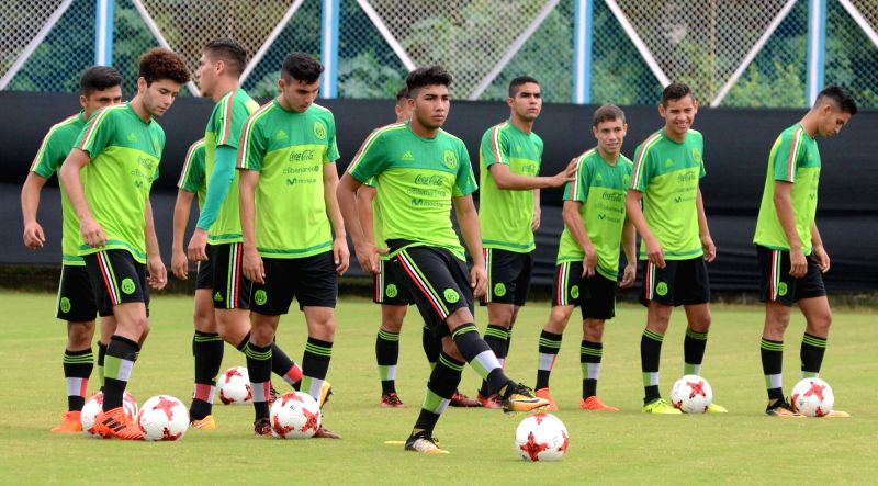 Mexican players in action during a practice session ahead of the FIFA U-17 World Cup India 2017 at Salt Lake stadium in Kolkata on Oct 7, 2017.